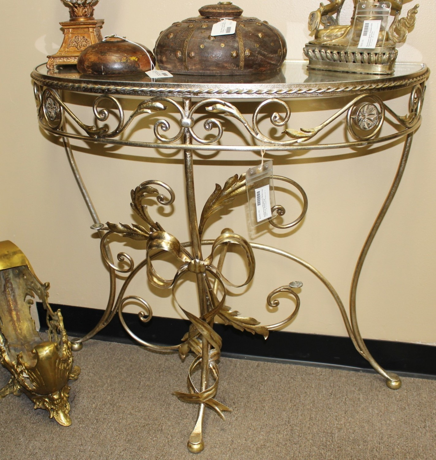 Hollywood Regency Ornate Gold Leaf Metal Glass Top Half-Moon Console Table