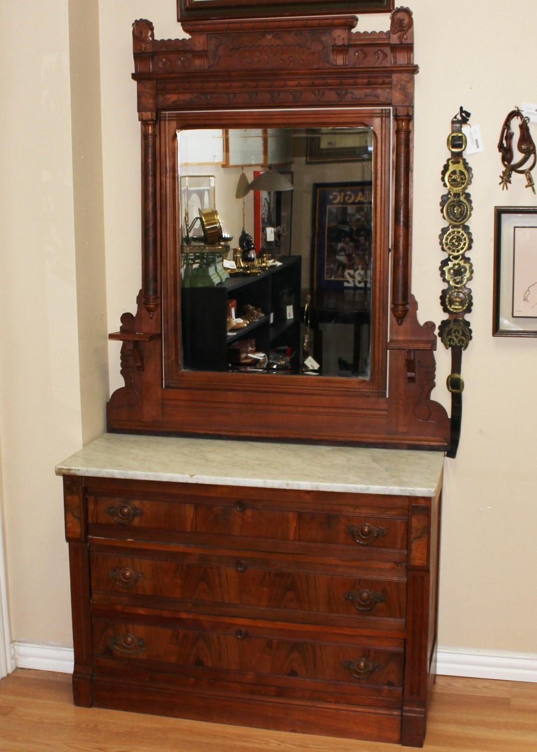Antique Eastlake Burl Walnut Marble Top Dresser, Tilt Mirror & Candle Shelves