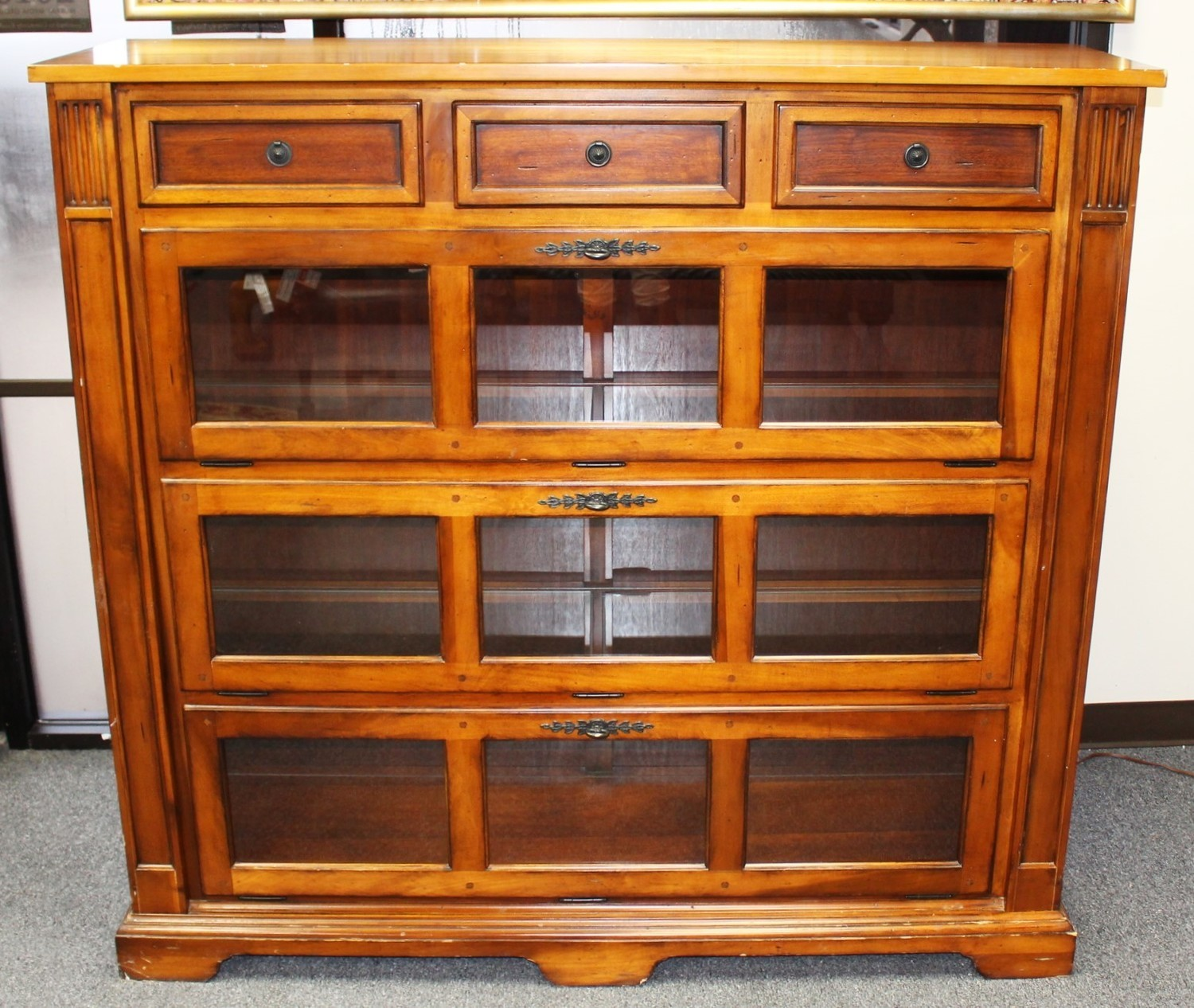 Vintage Barrister Lighted Bookcase Display Cabinet w/ Drop Down Glass Doors