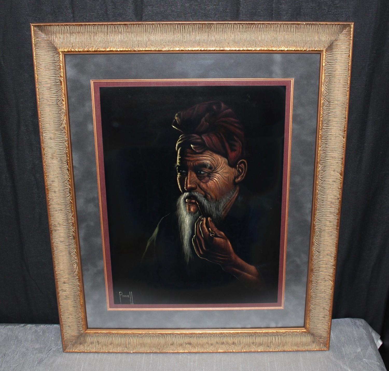 Oriental Man Smoking Pipe Oil on Velvet Painting Framed 29 x 35, Signed Powell