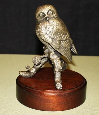 Irving Burgues 1976 Pygmy Owl Fine Pewter Sculpture Figurine on Wood Base Signed