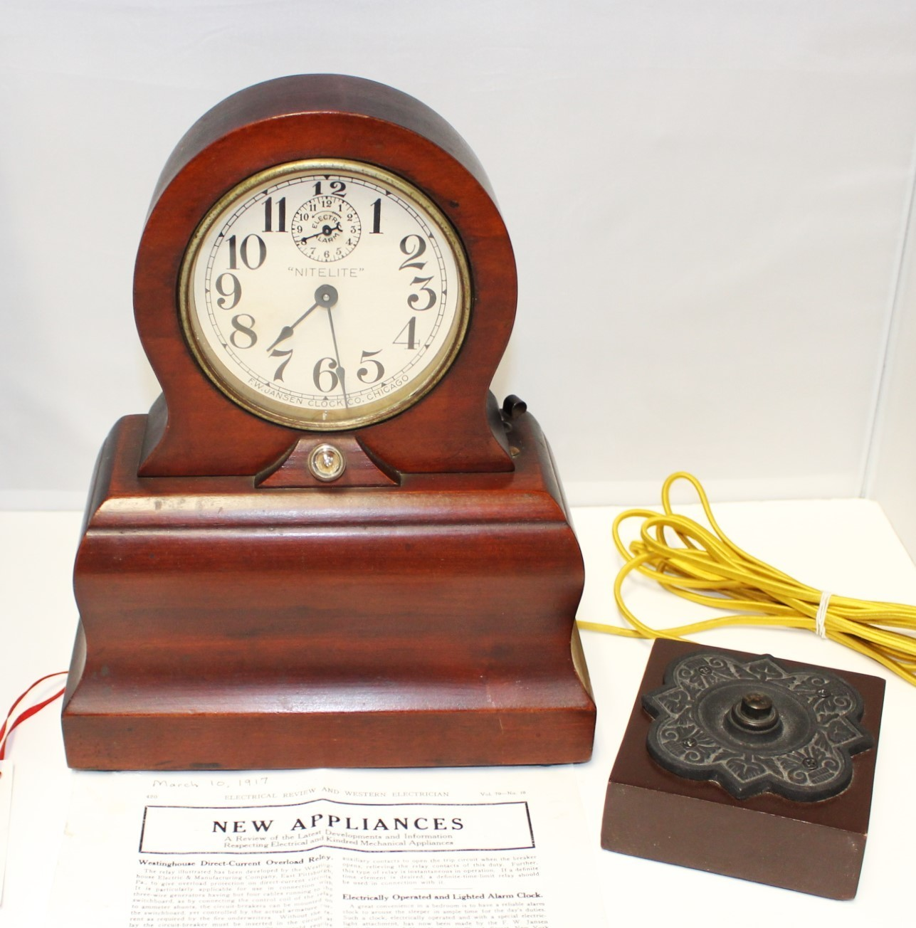 1910 American F.W. Jansen Nitelite Mahogany Wood Alarm Clock w/ Light