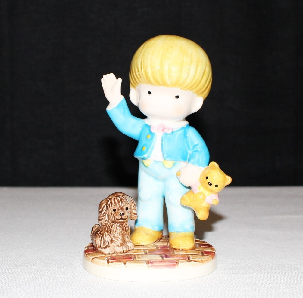 "Joan Walsh 1981 Anglund Ebeling Reuss Teddy Bear 5"" Boy Porcelain Figurine"