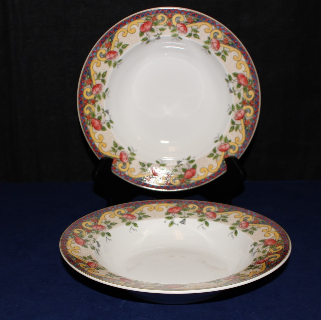 "Set of 2 American Atelier 8 5/8"" Soup Bowls Petite Provence 5074 Pattern"