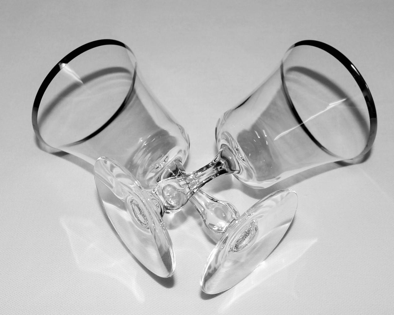 "Set of 2 Fostoria Sheffield 6 3/4"" Water Goblets w/ Platinum Rim"