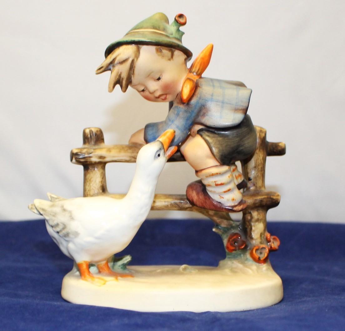 "Goebel Hummel Barnyard Hero 6"" Porcelain Figurine #195 TMK-2, Boy w/ Goose"