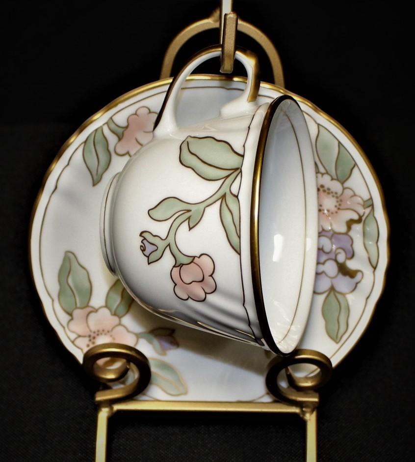 Fitz & Floyd Fleur Fantasia 194 Porcelain Peach & Purple Floral Cup & Saucer Set