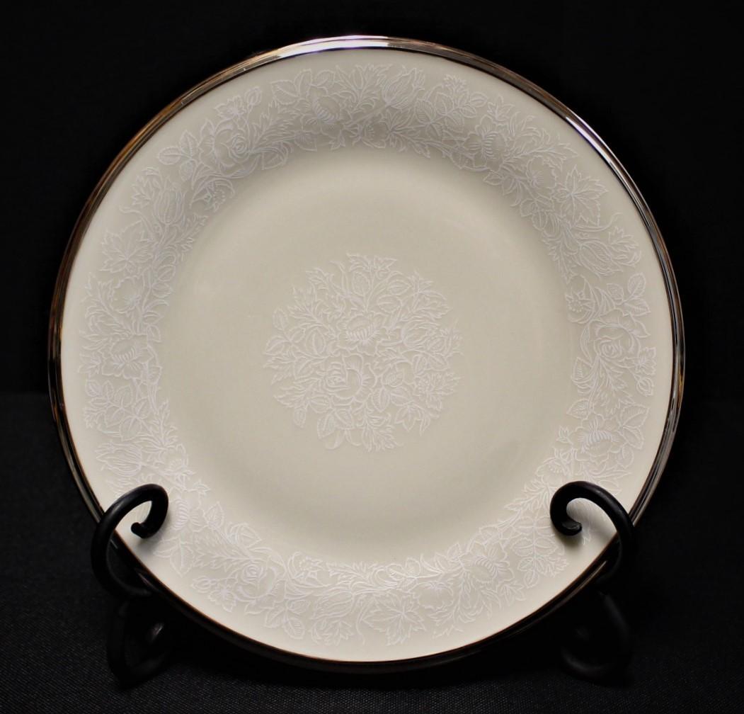 "Lenox Moonspun 8 1/8"" Salad Plate Ivory Floral Pattern w/ Platinum Trim"