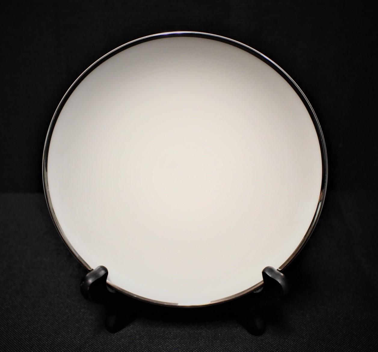 "Noritake Ivonne 7522 Ivory China 6.5"" Bread Plate w/ Platinum Trim"