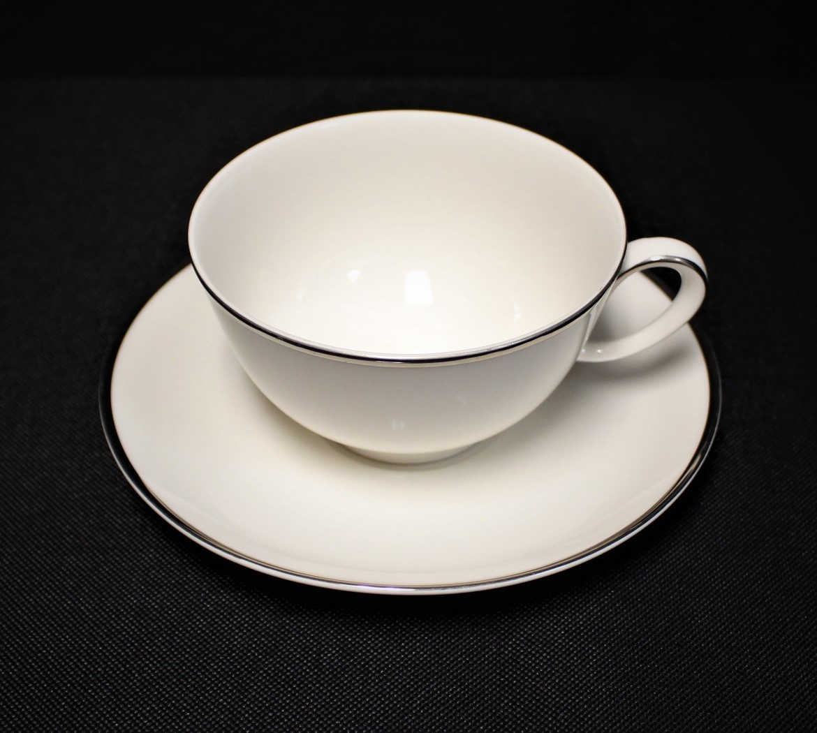 Noritake Ivonne 7522 Ivory China Cup & Saucer Plate Set w/ Platinum Trim