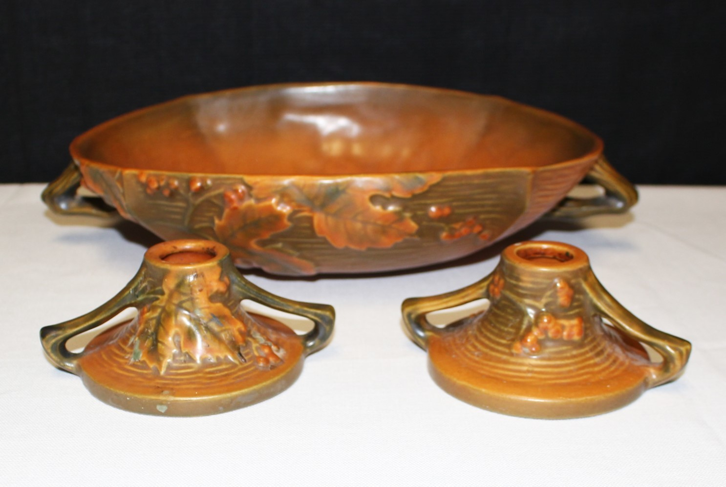 Roseville Pottery Bushberry Terra Cotta Console Bowl & Two Candlestick Holders
