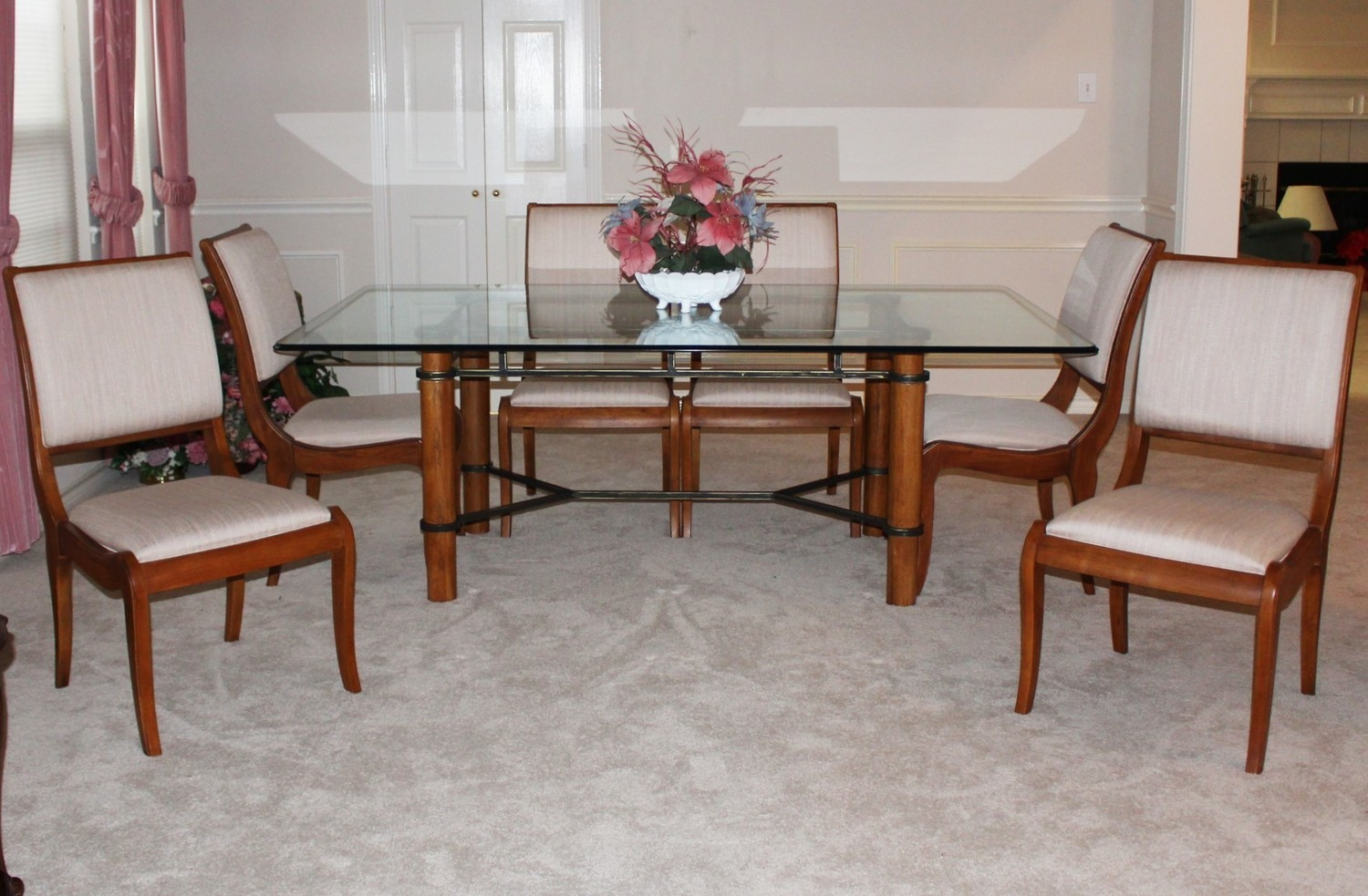Thomasville Glass Top Dining Table w/ Six Upholstered Chairs