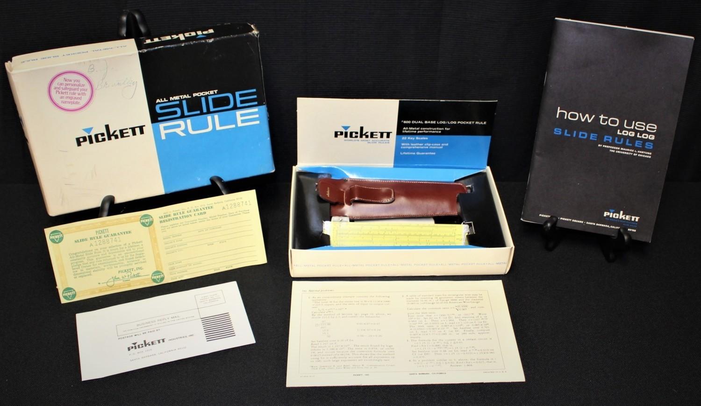 1953 Pickett 600-ES All Metal Pocket Slide Rule, Leather Clip-Case, Manual & Box