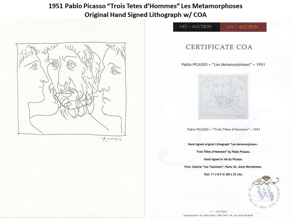 "1951 Pablo Picasso ""Quatre Tetes d'Hommes"" Original Hand Signed Lithograph w/COA"