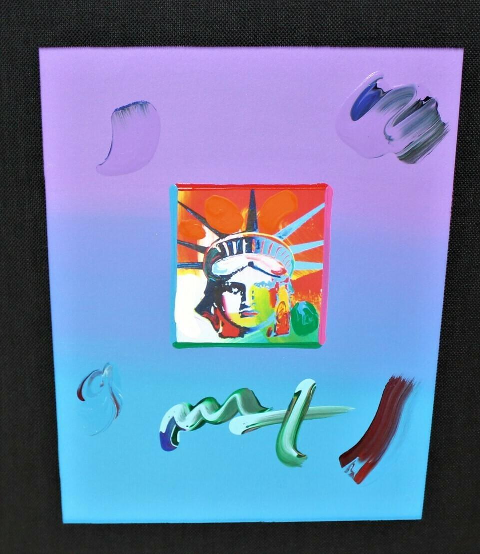 "PETER MAX ""Liberty Head"" Limited Mixed Media Art on Paper Signed, COA"
