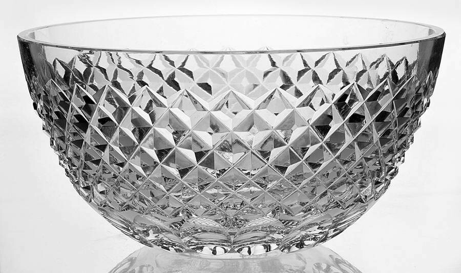 "Waterford Crystal 8"" Round Bowl Colleen Short Stem Cut Irish Art Glass"
