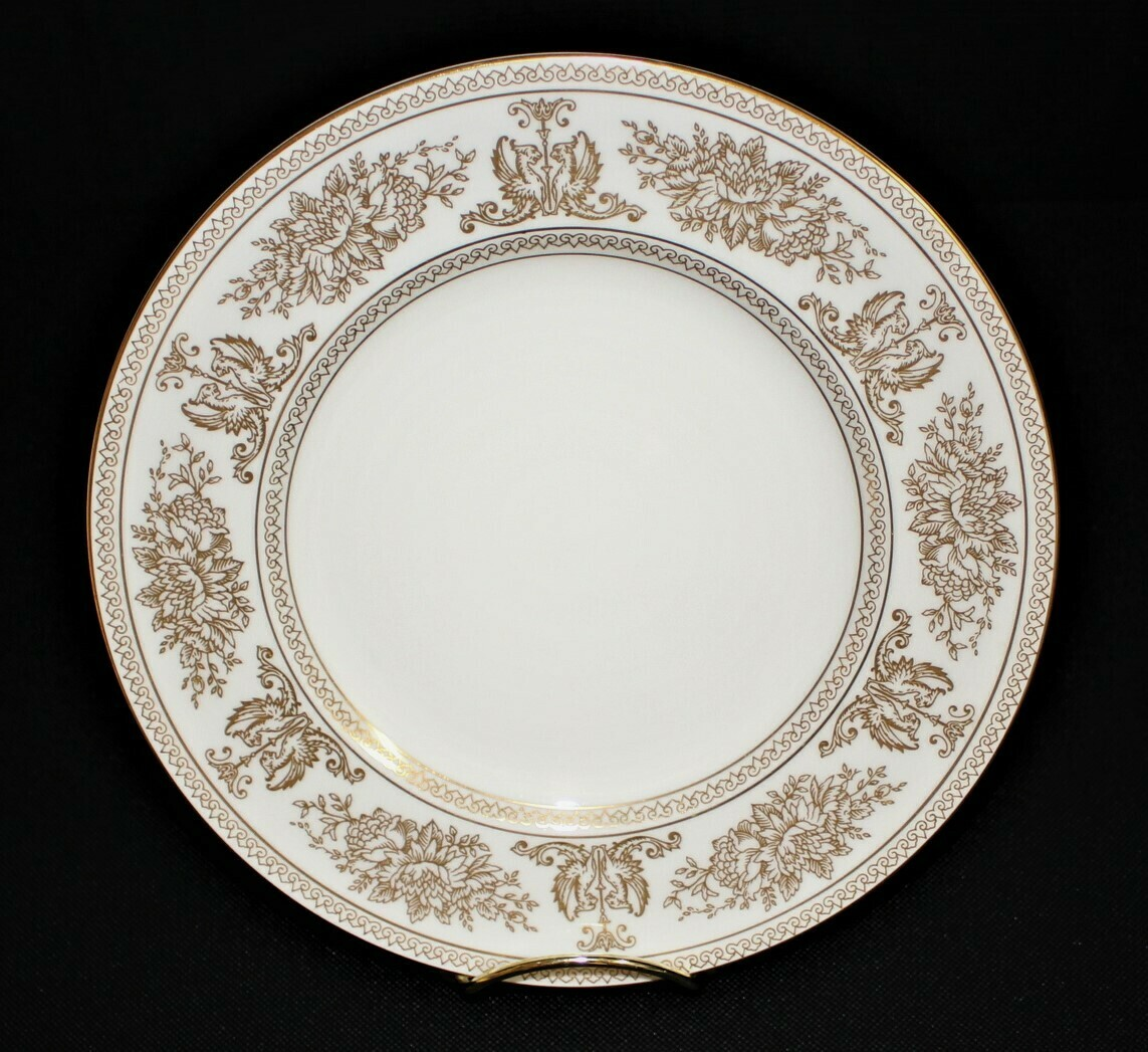 "Wedgwood Columbia 8 1/8"" Salad Plate White w/ Gold Border Bone China #R4408"