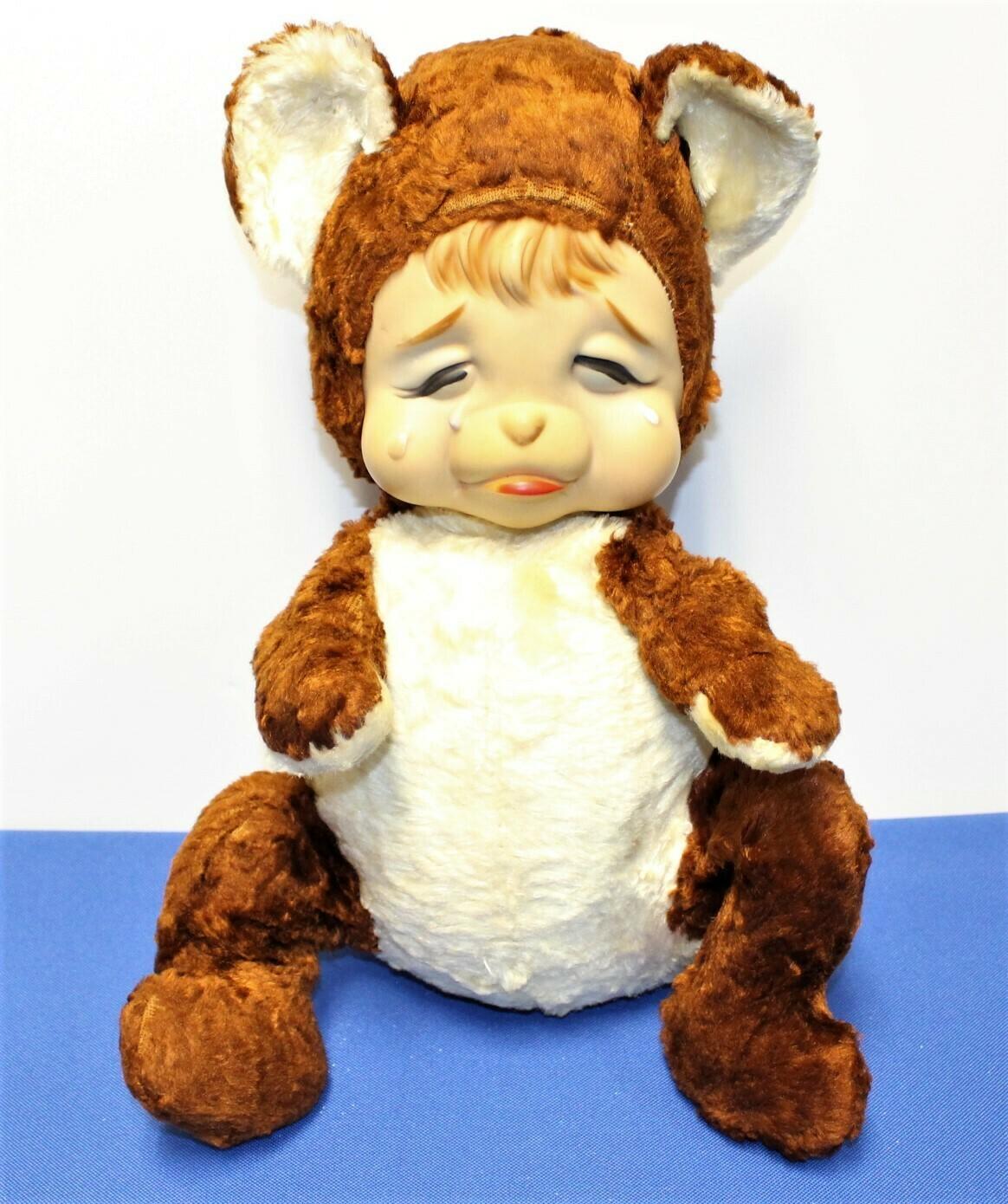 "Rushton Rubber Face Vintage Sad Crying Pouting 15"" Plush Teddy Bear, Rare!"