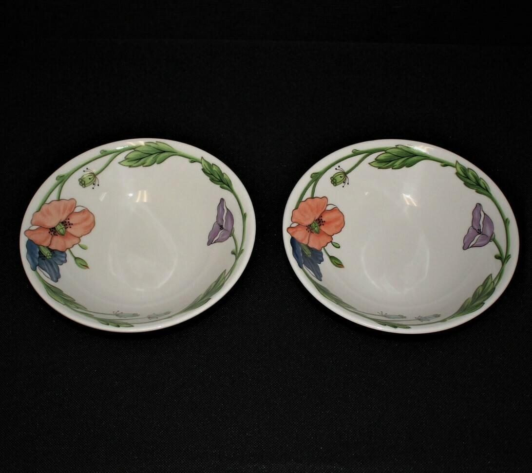 """Set of 2 Villeroy & Boch Amapola Pattern 8 1/8"""" Coupe Soup Bowls"""