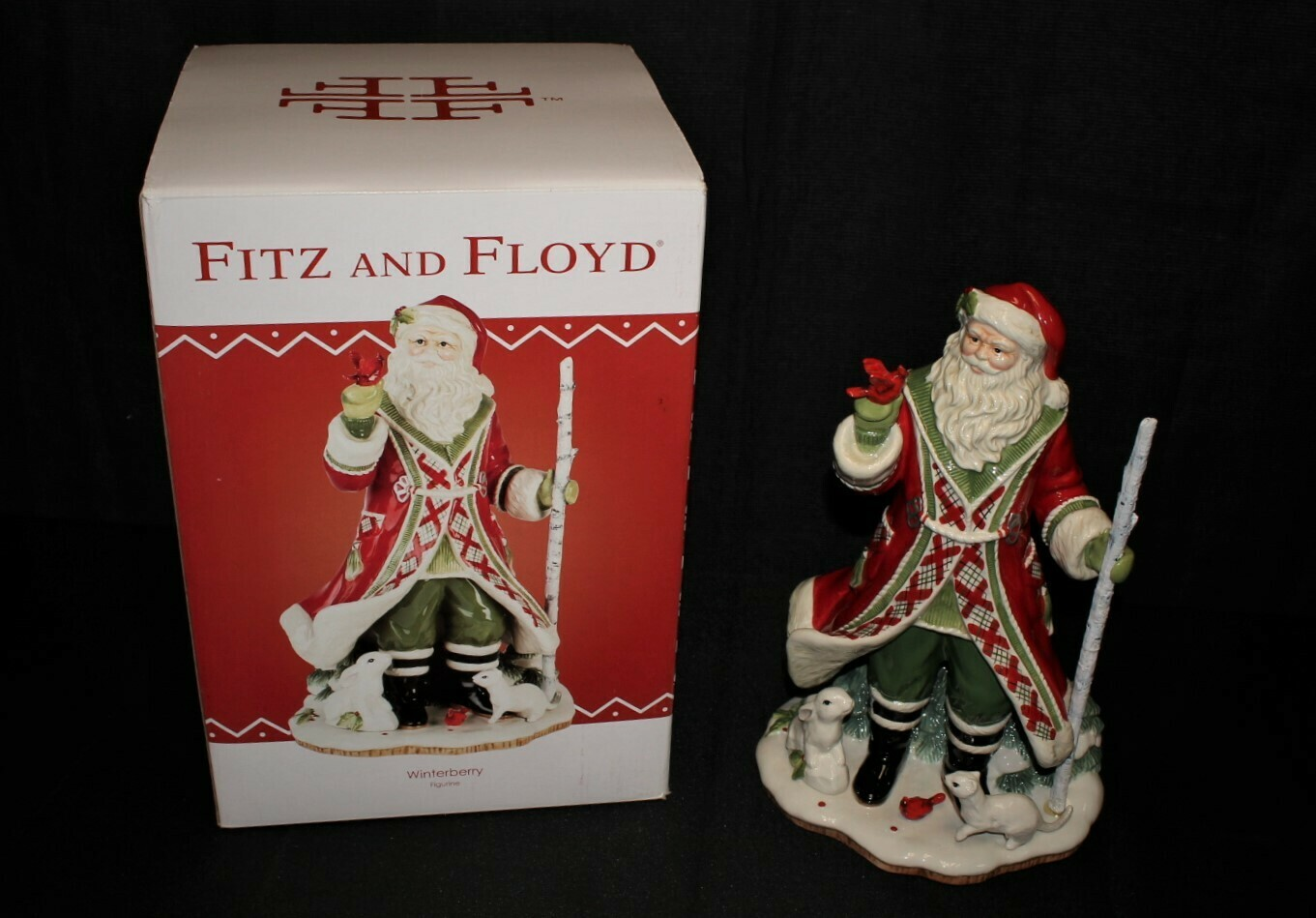 "Fitz & Floyd Christmas Winterberry 14"" Santa Figurine #29-435 w/ Original Box"