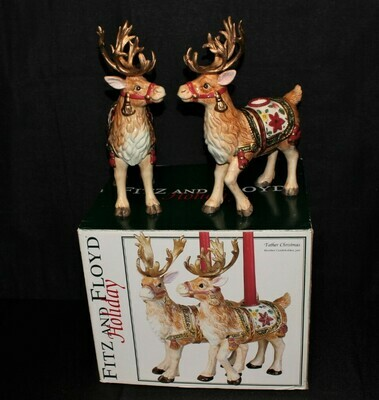 Pair of 2003 Fitz & Floyd Father Christmas Reindeer Candle Holders #19-1030 w/ Original Box