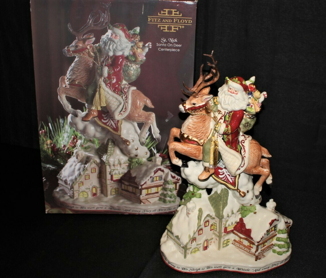 "Fitz & Floyd St. Nick Santa on Deer 18.5"" Centerpiece w/ Original Box #19-1284"