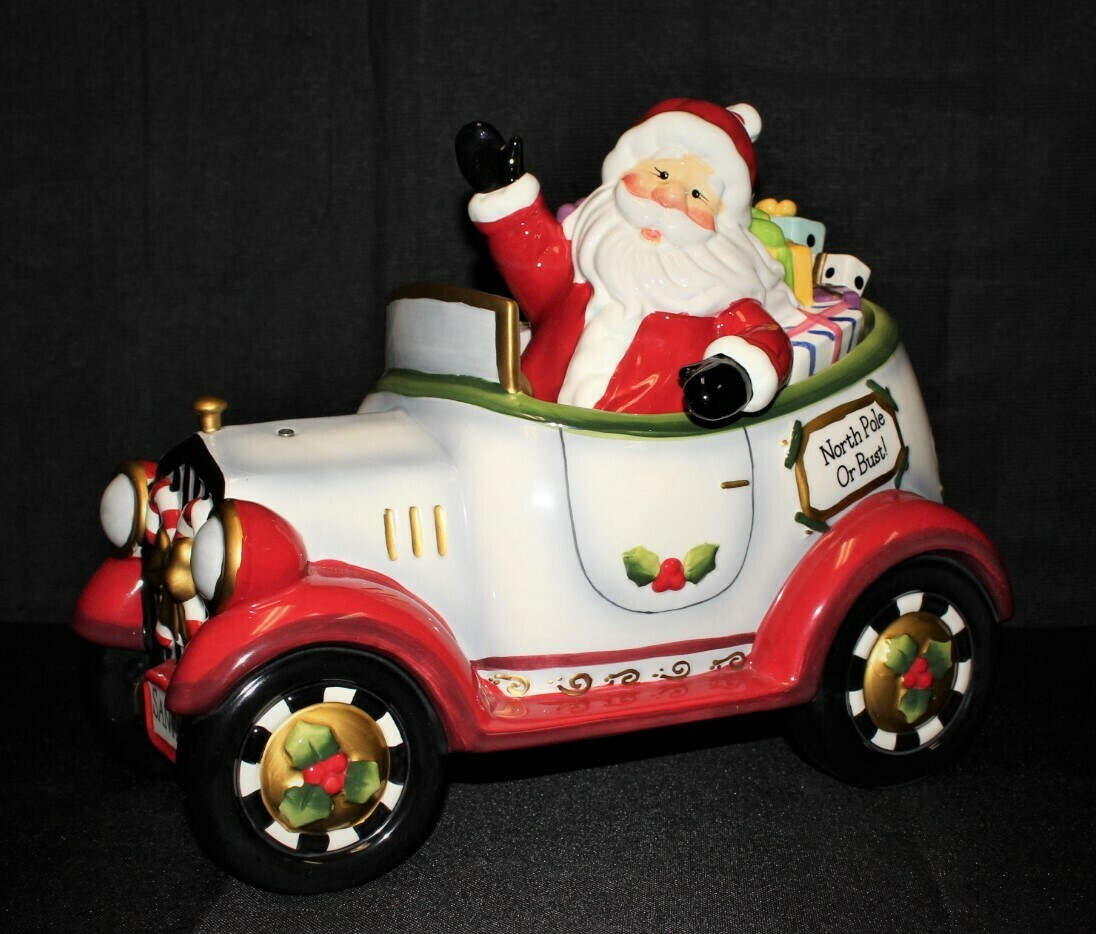 """Laurie Furnell Large 14"""" Hand Painted Santa Car Cookie Jar, Hallmarked"""