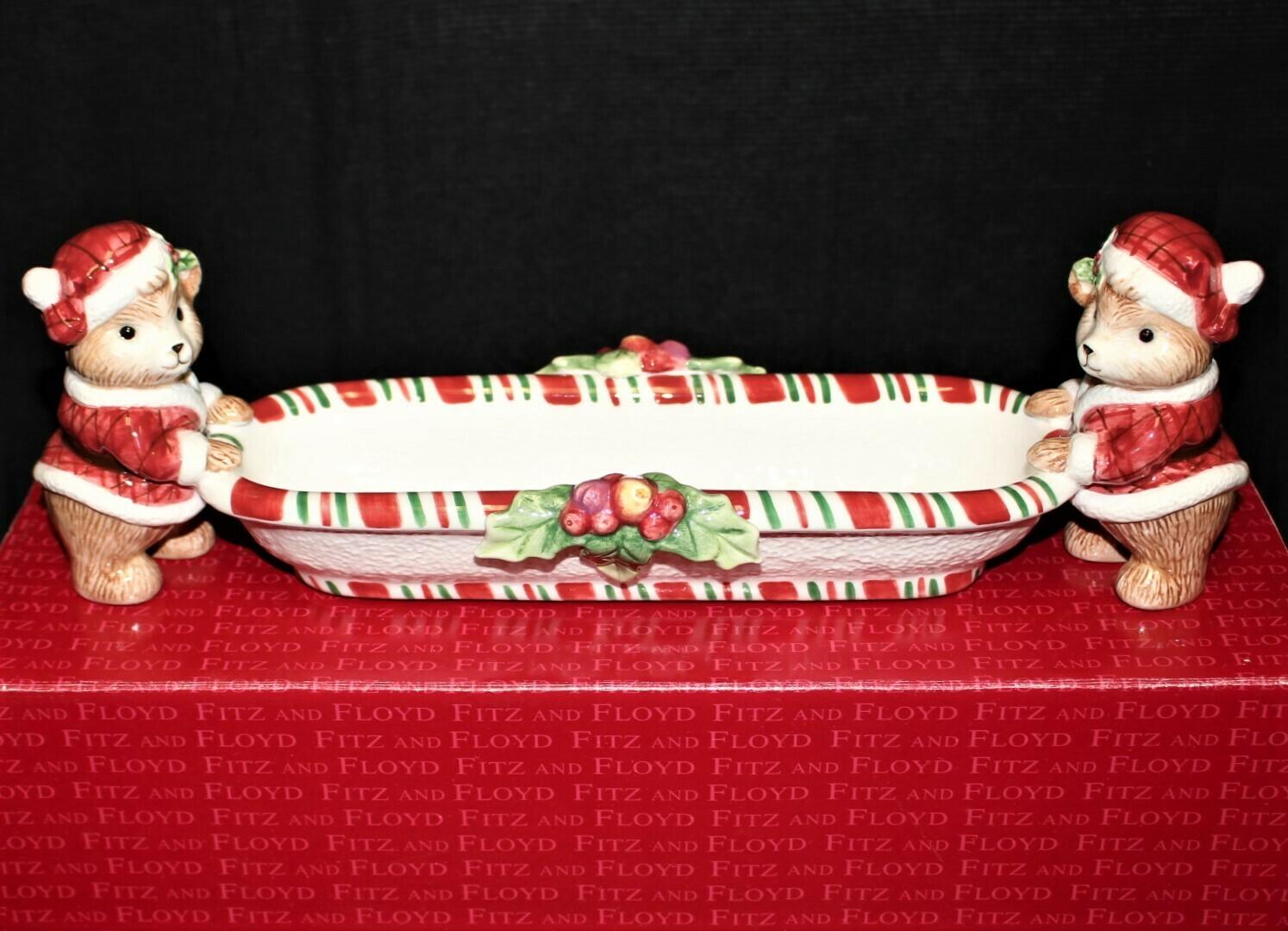 Fitz & Floyd Peppermint Teddy Tidbit Tray Christmas Dish in Original Box