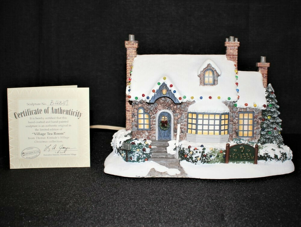 """Thomas Kinkade 2001 """"Tea Room"""" Lamplight Hawthorne Village Light-Up House"""