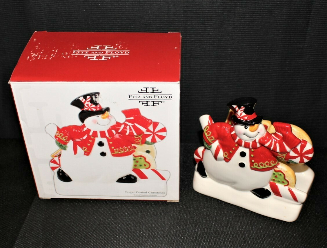 Fitz & Floyd Sugar Coated Christmas Candy Snowman Holiday Napkin Holder w/ Box