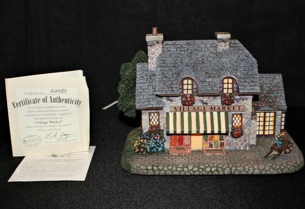 "Thomas Kinkade 2001 ""Village Market"" Hawthorne Lamplight House #A4580"