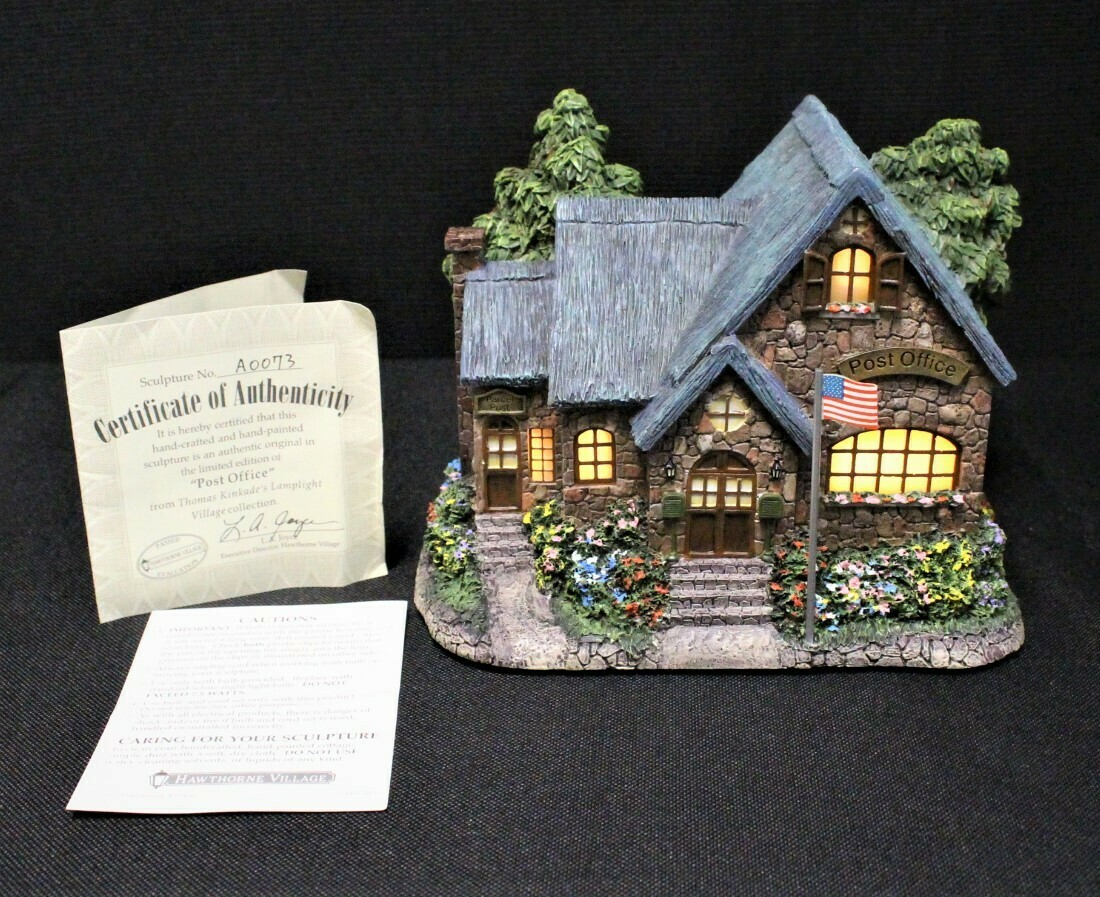 "Thomas Kinkade 2004 ""Post Office"" Hawthorne Village Lamplight House #A0073"
