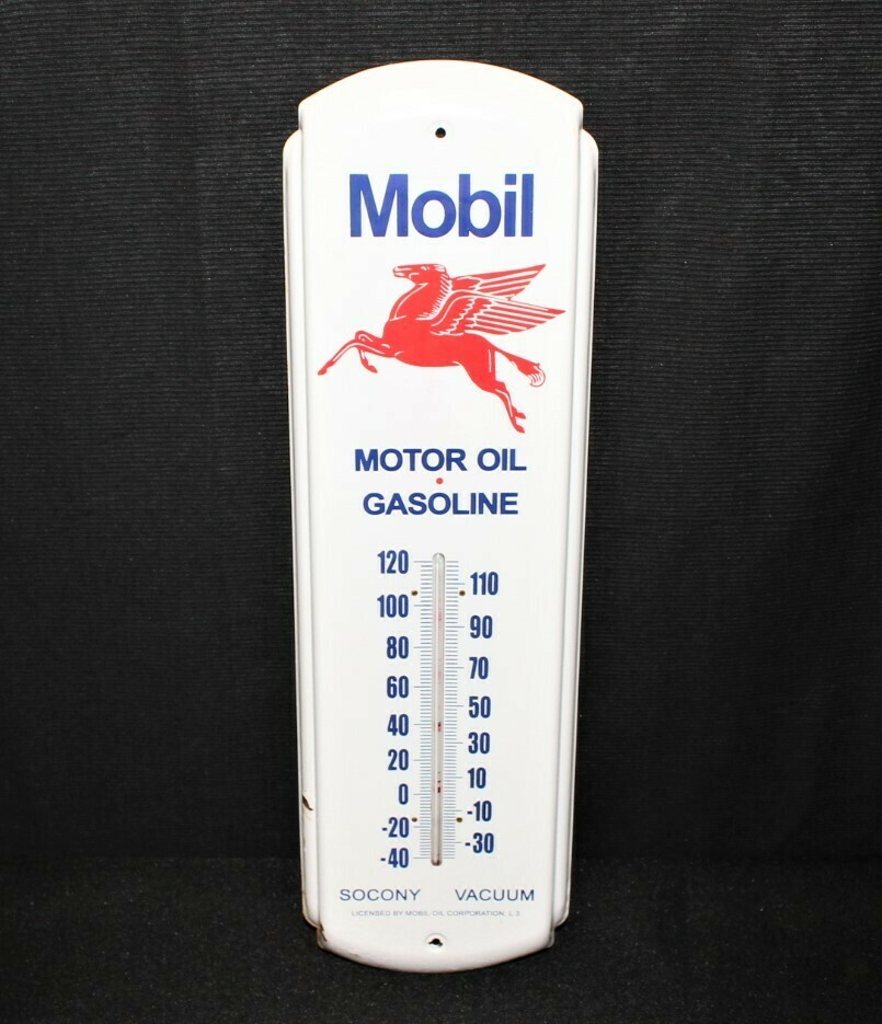 Vintage Mobil Oil Gasoline Pegasus Thermometer Advertising Sign Socony Vacuum