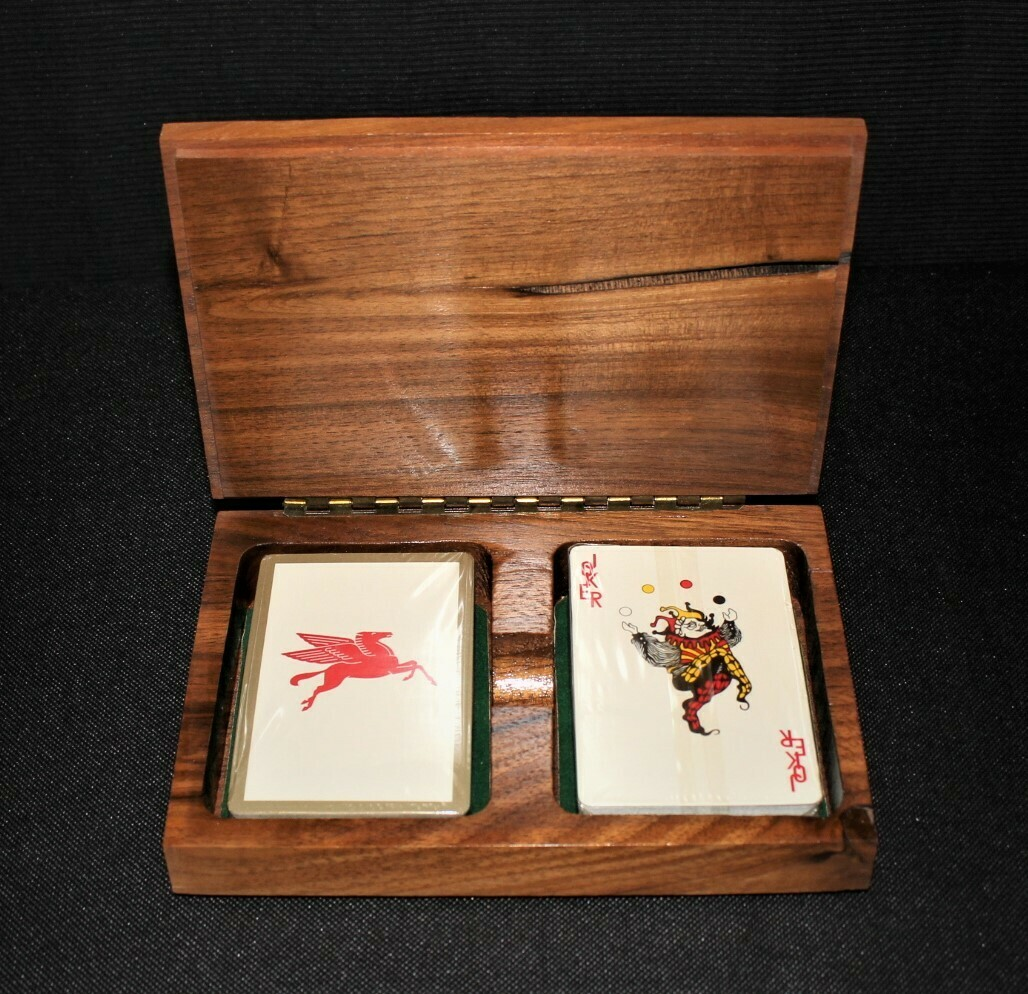Vintage Mobil Oil Pegasus 2-Deck Sealed Playing Cards in Wood Carved Storage Box