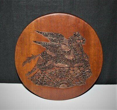 Indonesian Copper Batik Flying Pegasus Horse Stamp Mounted in Wood Trivet