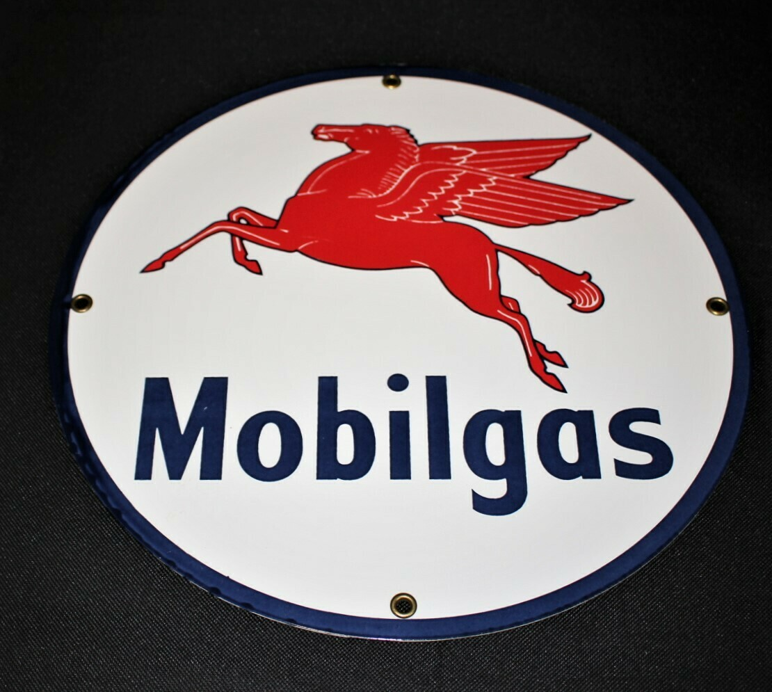 Vintage Mobilgas Pegasus Porcelain Service Station Pump Plate Advertising Sign
