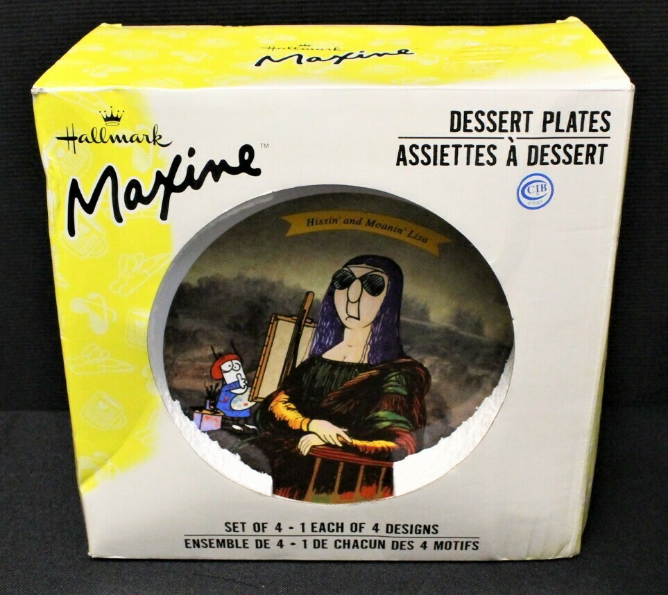 "Set of 4 Hallmark Maxine 7"" Dessert Plates in Box, Microwave & Dishwasher Safe"