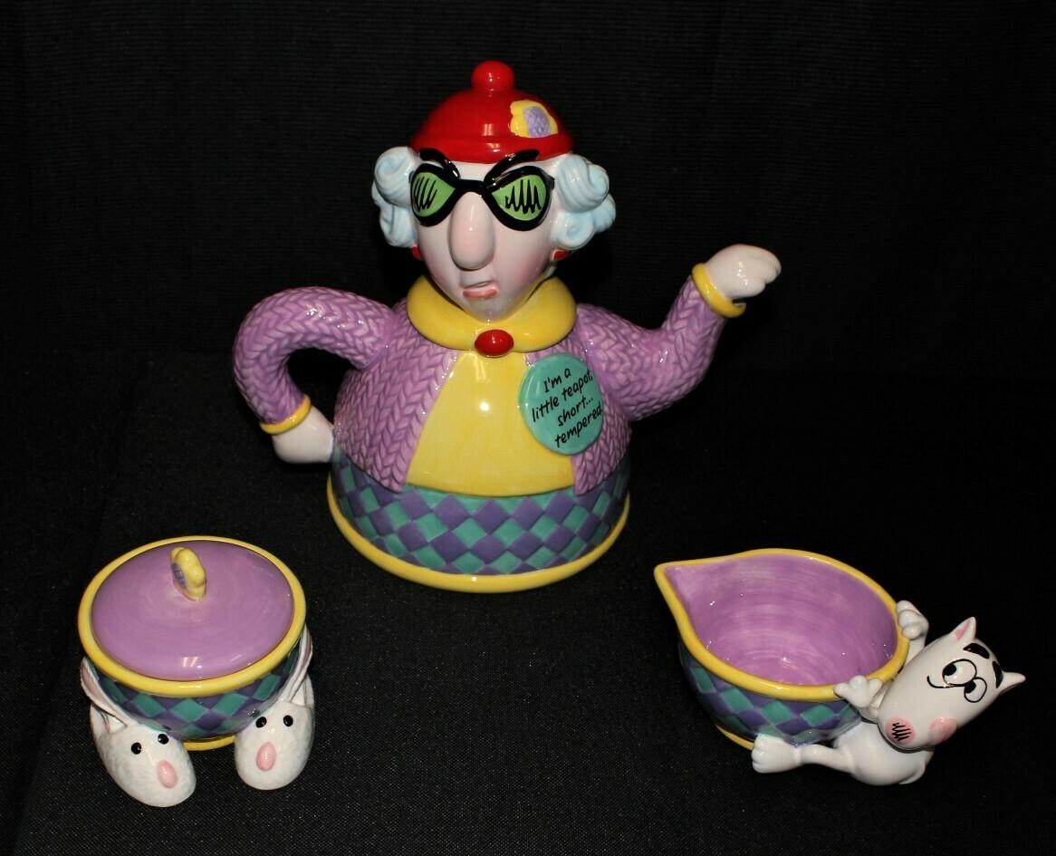 "Hallmark Maxine ""Short Tempered"" 4-Piece Teapot, Creamer & Covered Sugar Bowl"