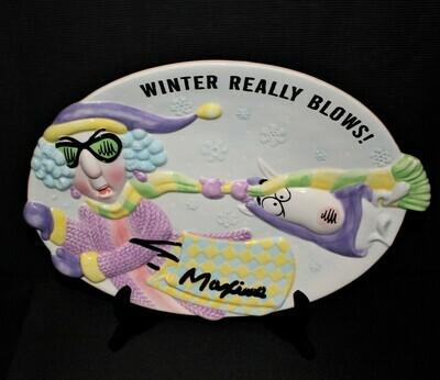 "Hallmark Maxine and Floyd ""Winter Really Blows"" Ceramic Cookie Platter"