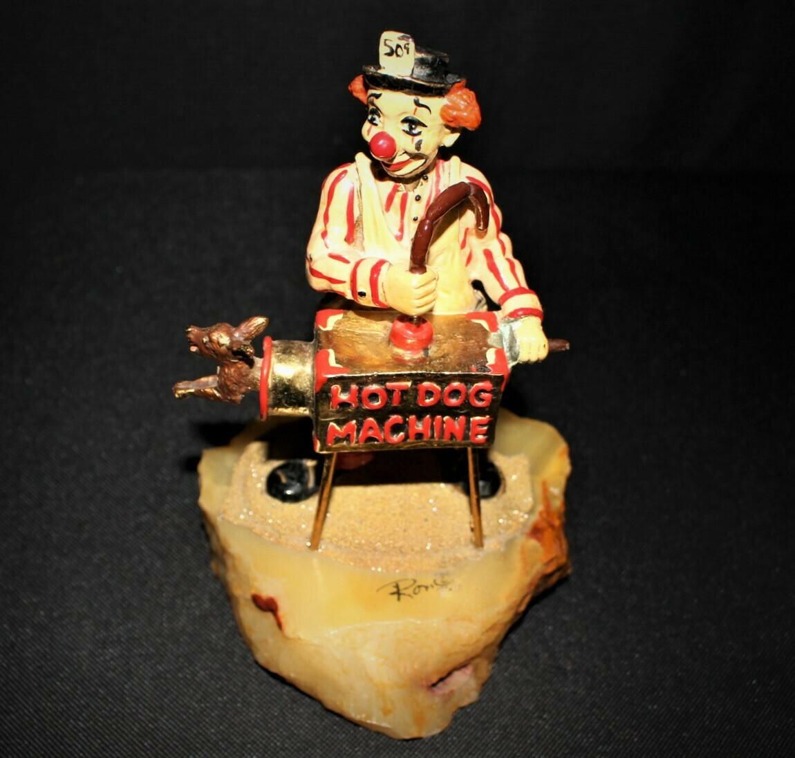 1980 Ron Lee Hot Dog Machine Hand Painted 24kt. Clown Sculpture Figurine, Signed