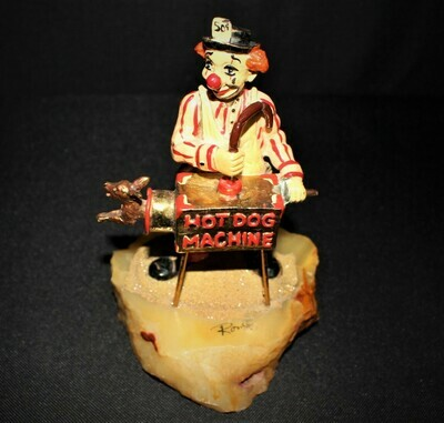 1980 Ron Lee Hot Dog Machine Hand Painted 24kt. Clown Sculpture Figurine, Signed