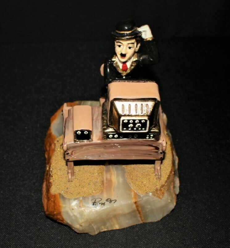 1987 Ron Lee Charlie Chaplin at the Computer Hand Painted 24kt. Figurine, Signed