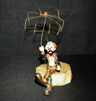 1980's Ron Lee Rainy Day Blues Hand Painted 24kt. Clown Sculpture Figurine