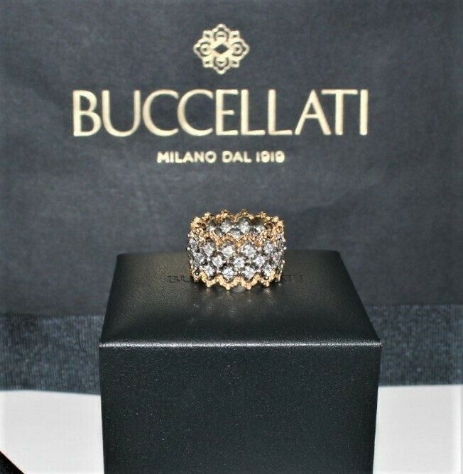 Buccellati Eternelle Rombi Ring 18K Gold and Diamond Band with Receipt & Box