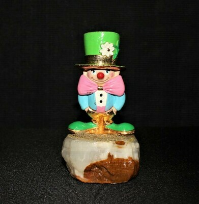 1992 Ron Lee Bashful Beau Leprechaun Clown Sculpture Figurine on Base, Signed