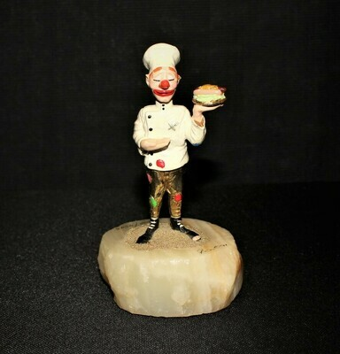 1991 Ron Lee Chef Clown 24kt Sculpture Figurine #178 on Onyx Base, Signed