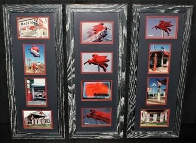 Korczynski Set of 3 Frames Vintage Mobil Gas Station Matted Photography Wall Art
