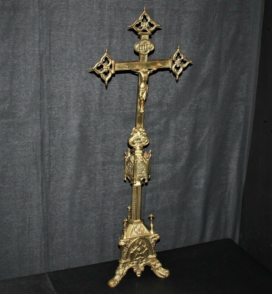 "​19th Century French Gothic Revival 31"" Brass Crucifix Altar Cross, Circa 1850"