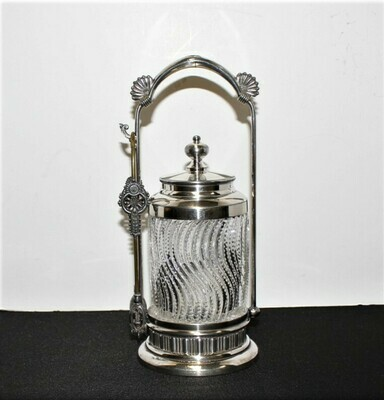 Meriden Glass Pickle Castor Jar w/ Quadruple Silver Plate Stand, Lid and Tongs