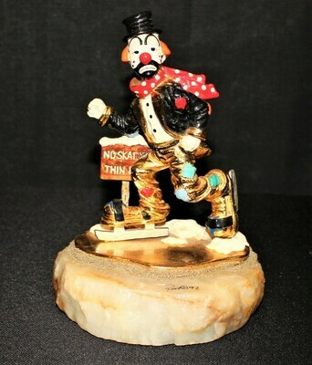 Ron Lee 1992 Winter No Skating Hobo Clown Limited Sculpture Figurine #L-279